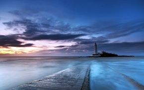 path, lighthouse, photography, blues rock, clouds, water