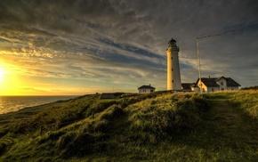 water, grass, flag, lighthouse, sunset, depth of field