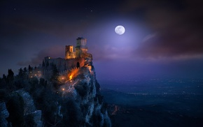 moon, moonlight, cityscape, castle, San Marino, starry night