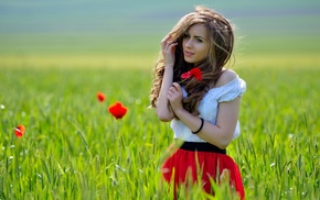 depth of field, brunette, girl outdoors, nature, field, dress