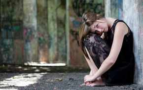 black dress, girl outdoors, urban, graffiti, looking at viewer, barefoot