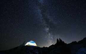 landscape, stars, Milky Way, night