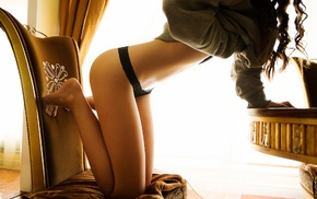 kneeling, black panties, girl, model, chair
