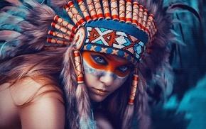 portrait, girl, face paint, face, headdress
