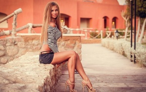 jean shorts, striped clothing, sitting, blonde, high heels, model