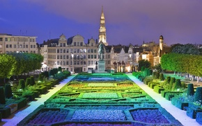 statue, architecture, cityscape, garden, city, Brussels