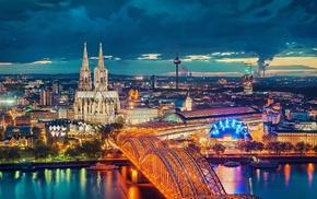 cityscape, bridge, Cologne Cathedral, city, Cologne, night
