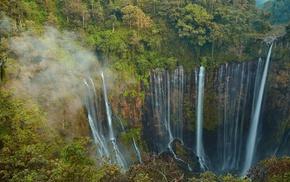 waterfall, java, trees, green, landscape, jungles