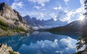 mountain, summer, nature, trees, Canada, lake