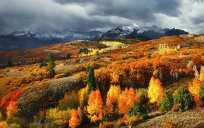 landscape, mountain, fall, colorful, clouds, nature
