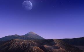 moon, mountain