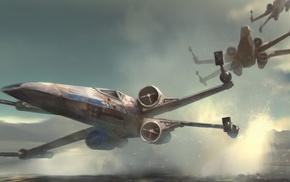 Star Wars Episode VII, The Force Awakens, artwork, Star Wars, X, wing