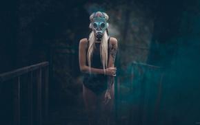tattoo, blonde, gas masks, girl, model