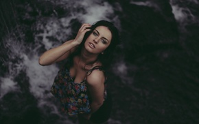 wet hair, waterfall, model, long hair, open mouth, wet clothing