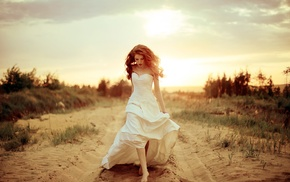 long hair, redhead, girl, white dress, barefoot, model