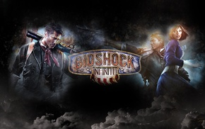 video games, BioShock Infinite, Elizabeth BioShock, clouds, artwork, Booker DeWitt