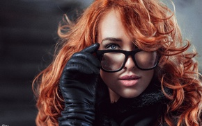 girl with glasses, glasses, gloves, redhead, portrait, girl