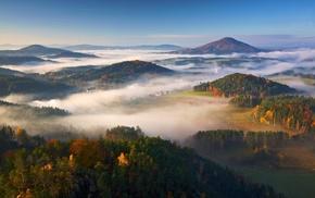 fall, village, landscape, mist, forest, sunrise