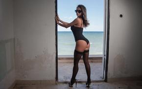 stockings, Dana Harem, sunglasses, girl, one, piece swimsuit