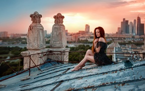girl outdoors, redhead, rooftops, girl