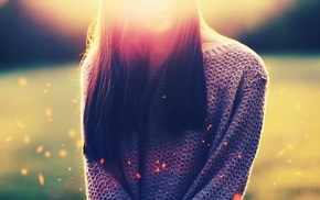 filter, brunette, model, sweater, bokeh, girl