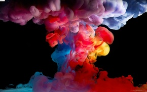 paint in water, digital art, colorful, black background