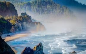 cliff, sea, beach, sunrise, mist, mountain