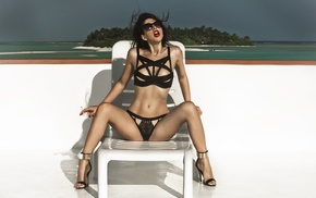 sunglasses, girl with glasses, deck chairs, girl, high heels, swimwear