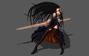 video game girls, black hair, Shanoa Castlevania, Castlevania Order Of Ecclesia, video games, fantasy art