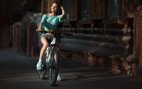 jean shorts, girl, bicycle, city