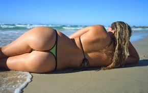 ass, sea, sand, bikini, blonde, girl