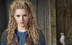 Katheryn Winnick, blonde, girl, face, Vikings TV series, braids
