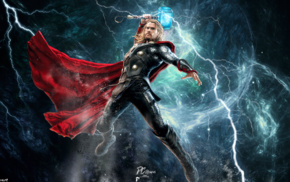Marvel Comics, Chris Hemsworth, Thor, lightning, Mjolnir, comics