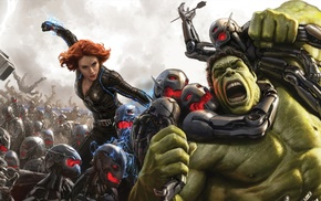 The Avengers, Black Widow, Hulk, Avengers Age of Ultron, redhead, girl