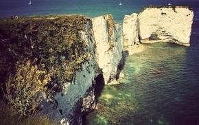cliff, landscape, beach, nature, rock, sea