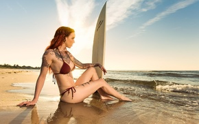 beach, Sun, sitting, sea, girl, redhead