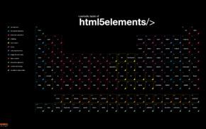 code, diagrams, HTML, periodic table, black background, Smashing Magazine