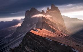 summit, nature, mist, summer, sunrise, landscape
