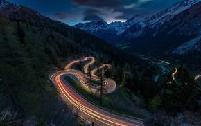 sunset, landscape, mountain, Switzerland, traffic lights, road