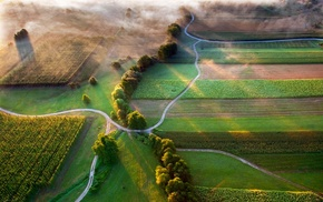landscape, nature, road, aerial view, Slovenia, mist