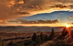 landscape, sunset, clouds, desert, valley, trees