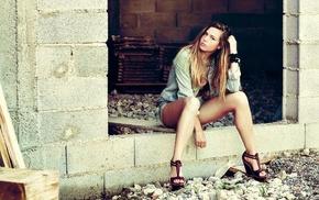girl, model, sitting, blonde