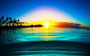 mist, landscape, water, beach, yellow, sunrise