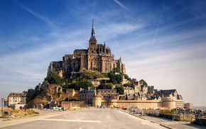 castle, building, Mont Saint, Michel