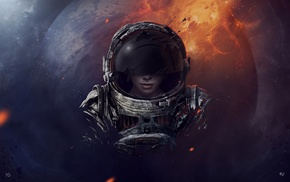 astronaut, surreal, horror, grunge, space