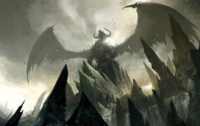 Guild Wars, concept art, video games, Guild Wars 2, dragon, fantasy art