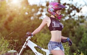 gloves, mountain bikes, girl, helmet