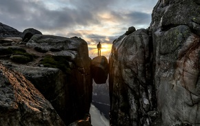 mountain, valley, people, silhouette, sunset, rock formation