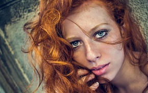 curly hair, looking at viewer, portrait, model, open mouth, blue eyes