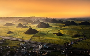 China, landscape, nature, field, town, mist
